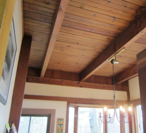 Beautiful high ceiling with cedar beams and cedar tongue and groove finish. www.yourperfectspace.ca