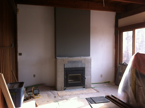 New fireplace. Bottom to be in stone, top painted in dark grey. www.yourperfectspace.ca