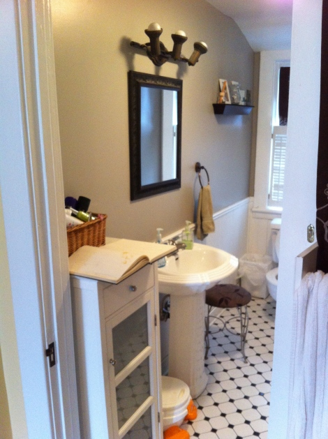 "With only 9"" from the wall to the door there is no room for a vanity, a pedestal is the only option. Storage is still an issue. www.yourperfectspace.ca"