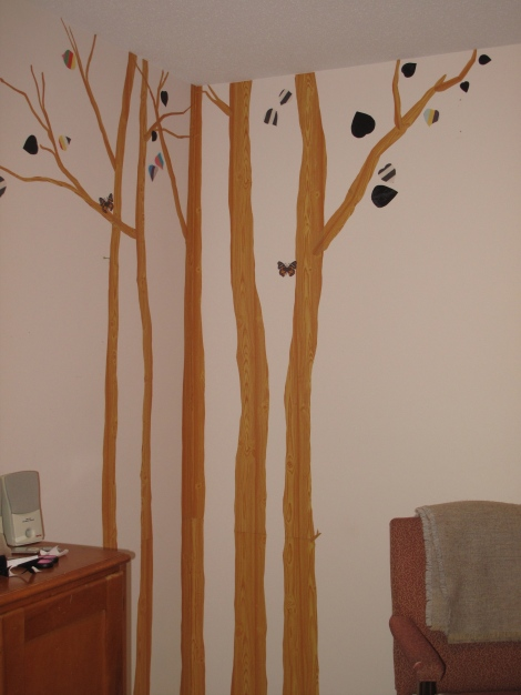 Dollar store vinyl cut into trees www.yourperfectspace.ca